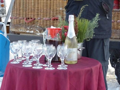 カッパドキア気球ツアー終了後のパーティーで提供されたシャンパン