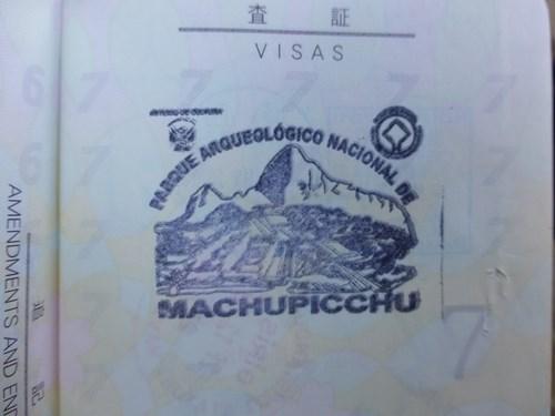 マチュピチュ遺跡の記念スタンプ