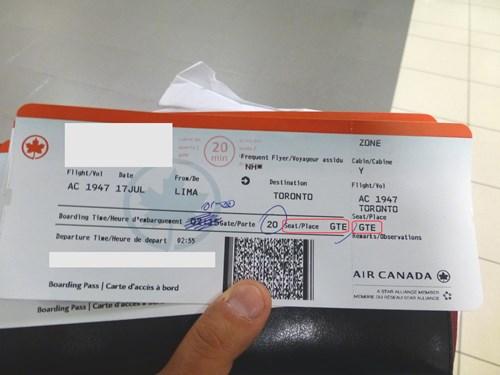 搭乗券(ボーディングパス)にGTEとプリント