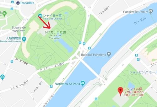 フランス・パリのエッフェル塔を見る場所の地図