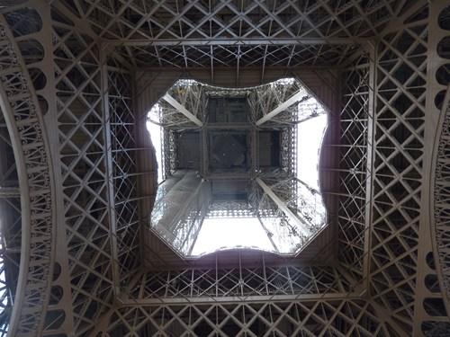 真下から眺めたフランス・パリのエッフェル塔