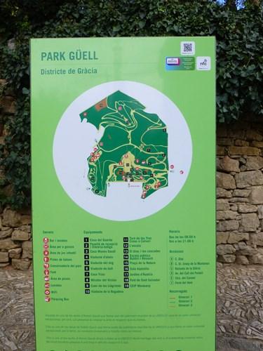 スペイン・バルセロナのグエル公園の案内板