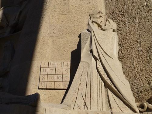 スペイン・バルセロナのサグラダファミリアの受難のファサードの16数字&ユダとキリスト