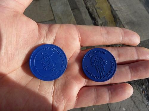 トルコ・イスタンブールの路面電車の乗車チケット(コイン)