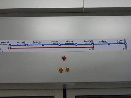 タイ・バンコクのエアポートレイルリンクの路線図