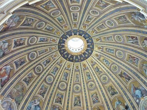 バチカン市国のサン・ピエトロ大聖堂のクーポラ内部の装飾