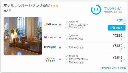 ホテル料金比較サイト「ホテルズコンバインド」の画面