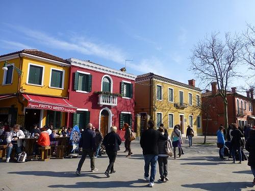 イタリア・ベネチア近くのブラーノ島の街並み