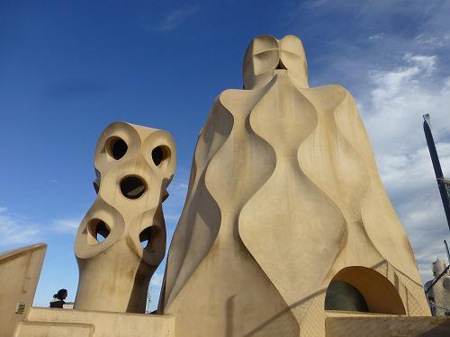 スペイン・バルセロナのカサ・ミラ屋上(煙突)