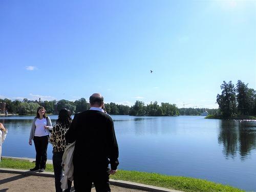 ロシア・サンクトペテルブルクのエカテリーナ公園の池
