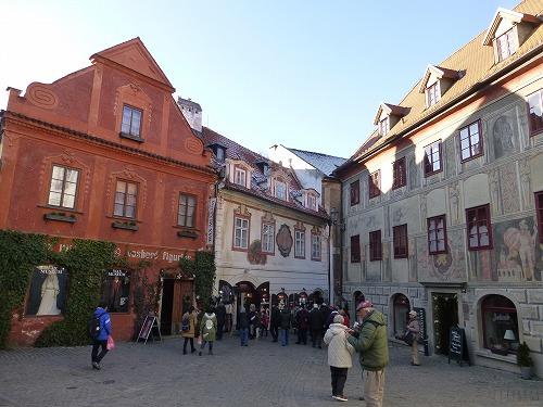 チェコ・チェスキークルムロフのスヴォルノスティ広場周辺