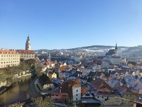 チェコ・チェスキークルムロフのチェスキークルムロフ城からの眺め