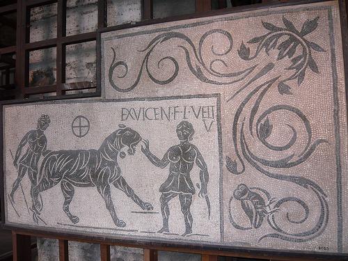 イタリア・ローマのコロッセオ内部に展示されているモザイク画