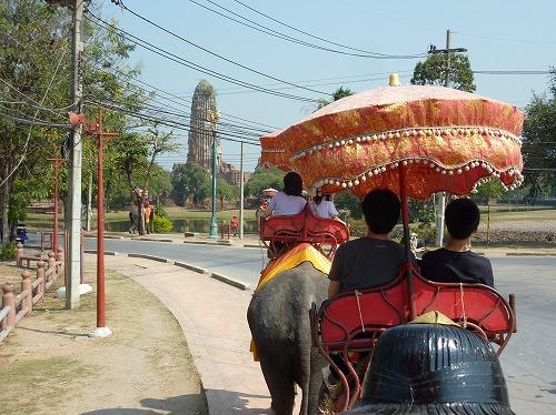 タイ・アユタヤ遺跡での象乗り体験