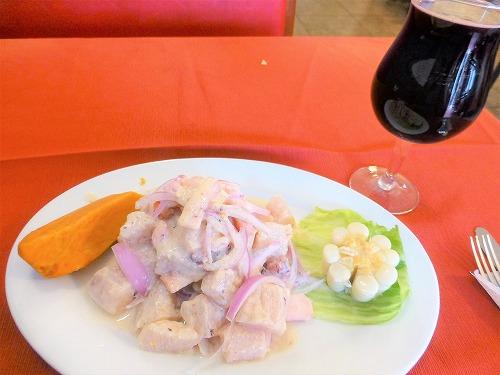ペルーのfazoli'sで食べたセビーチェとチチャモラーダ