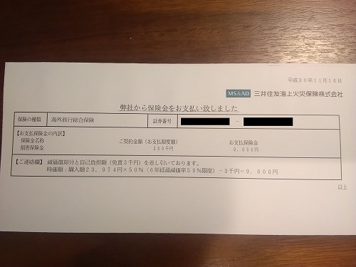 楽天プレミアムカードでカメラ破損の保険金請求した結果の支払通知書
