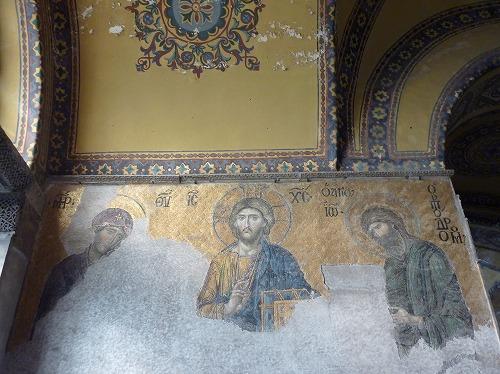 トルコ・イスタンブールのアヤソフィア博物館内部のモザイク画(デイシスのイコン)