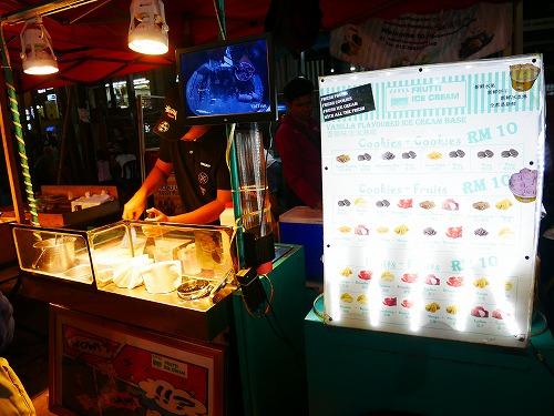 マレーシア・クアラルンプールのアロー通りの屋台街(アイスクリーム)