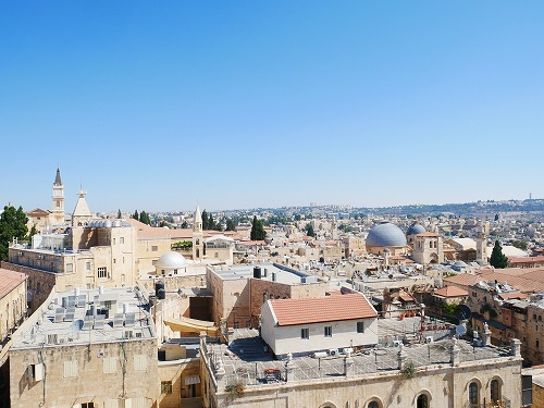 エルサレム(イスラエル)の旧市街にあるダビデの塔の展望台からの眺め