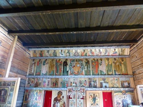 ロシア・キジ島にあるポクロフスカヤ教会内部のイコン画