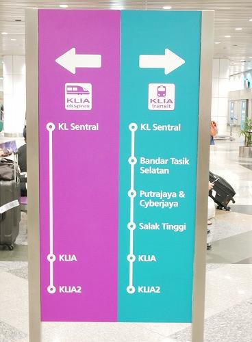 クアラルンプール国際空港とKLセントラル駅を結ぶKLIAエクスプレスの路線図