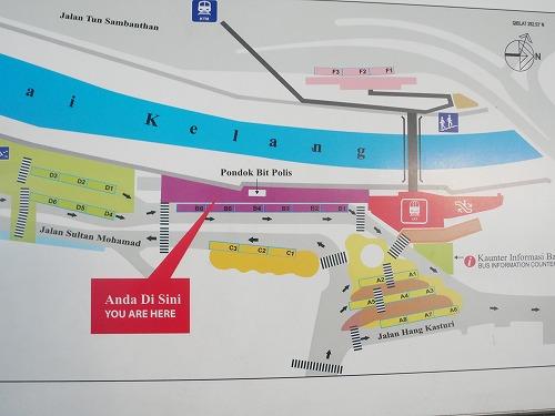 マレーシア・クアラルンプールのパサール・スニ駅近くのバスターミナルの構内図