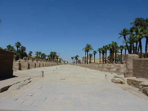 エジプト・ルクソールにあるルクソール神殿のスフィンクスの参道