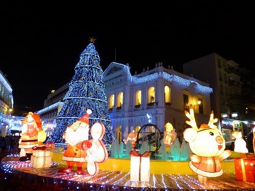 マカオのセナド広場(ライトアップ)