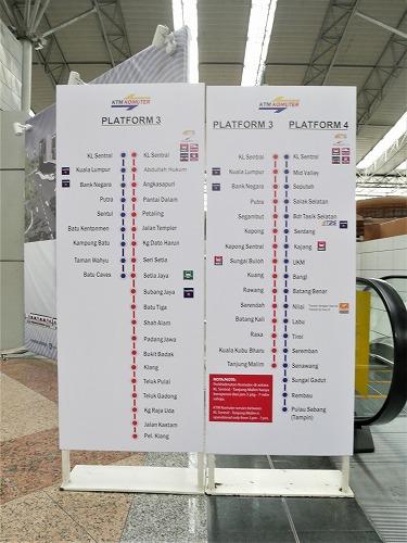 マレーシアのKTMコミューターの路線図