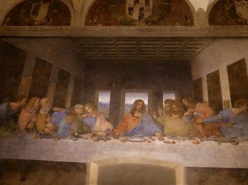 ミラノ(イタリア)のサンタ・マリア・デッレ・グラツィエ教会の壁画『最後の晩餐(レオナルド・ダ・ヴィンチ作)』