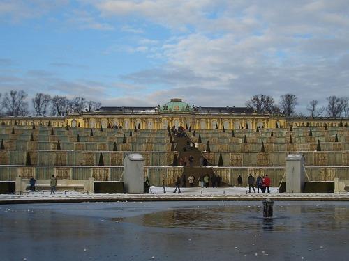 ポツダム(ドイツ)にあるサンスーシ宮殿(冬)