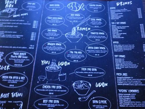 チェコ・プラハのラーメン専門店「Kitchen Ramen bar」のメニュー