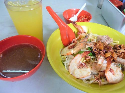シンガポールの惹蘭蘇丹蝦麺のプロウン・ミー(ドライタイプ)