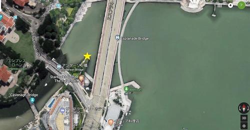 シンガポールの以前マーライオンのあった場所