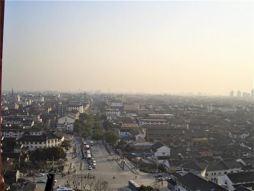 中国・蘇州にある北寺塔からの眺め