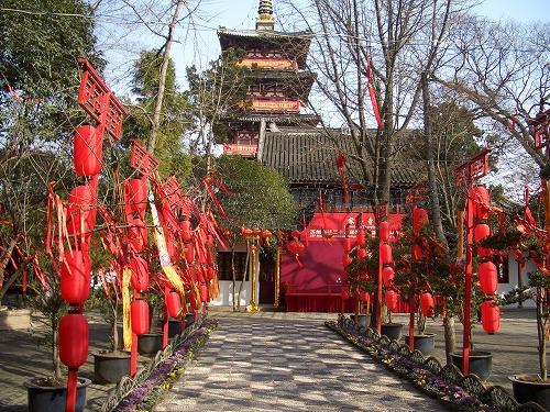 中国・蘇州にある寒山寺内部