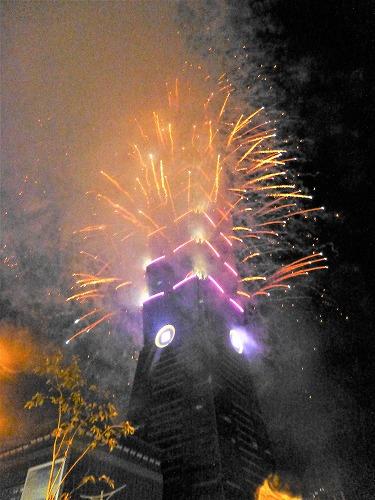 台湾・台北101の年越し花火