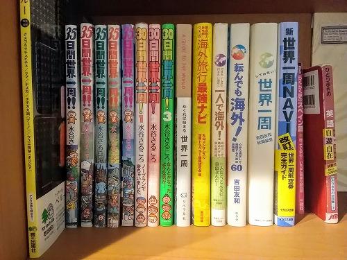 本棚に並ぶ旅行関連の本